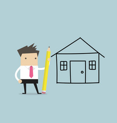 Businessman drawing house plan by pencil vector
