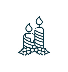 candles holly berry happy christmas line icon vector image
