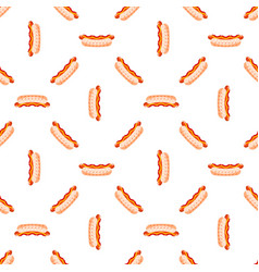 cartoon cute hotdogs on white background seamless vector image