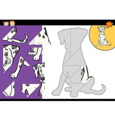 Cartoon dalmatian dog puzzle game vector