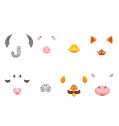 Cartoon selfie application photo items animal vector