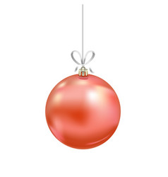 christmas red glass ball with ribbon isolated on vector image