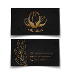 coffee beans logo design black busies card vector image