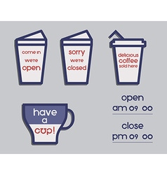Coffee signs Open and Closed elements France 2016 vector