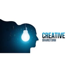 Creative lightbulb in head vector
