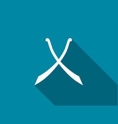 crossed swords with long shadow scimitar icon vector image
