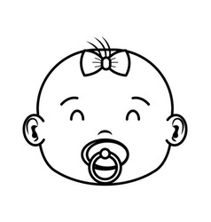 cute and little girl baby head character vector image