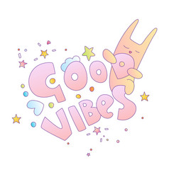 cute cartoon words good vector image