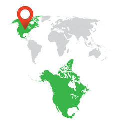 Detailed map of north america and world map vector