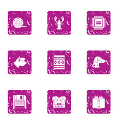 Digital merit icons set grunge style vector