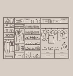 doodle male and female wardrobe concept vector image