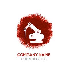 drill crane icon - red watercolor circle splash vector image