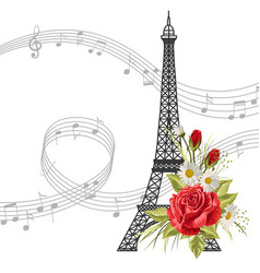 eiffel tower with flowers and music notes isolated vector image