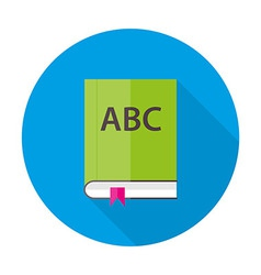 English ABC book flat circle icon vector