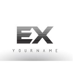 Ex e x black and white horizontal stripes letter vector