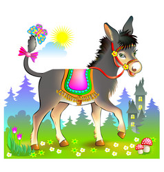 Fantasy for kids with cute little donkey walking vector