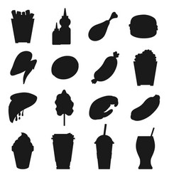 fast food silhouettes vector image