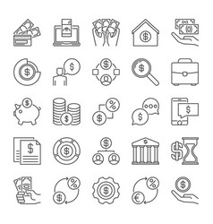 finance and money outline icons set vector image