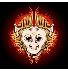 Fire Monkey Face vector