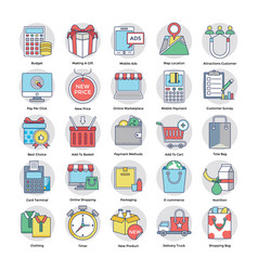 flat icons on online shopping theme vector image
