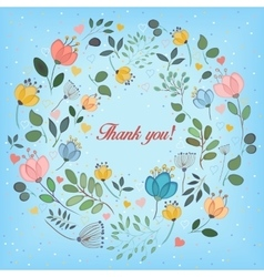 Floral ring Thank you vector