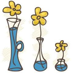 Flowers in vases set vector