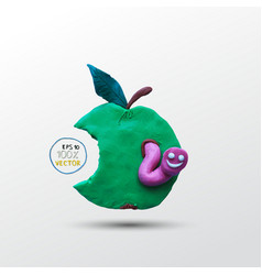 Funny plasticine worm in the apple vector image