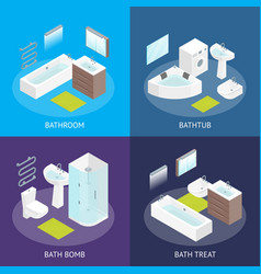 furniture bathroom interior banner card set vector image