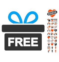 gift icon with valentine bonus vector image