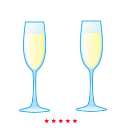 glass of champagne icon different color vector image