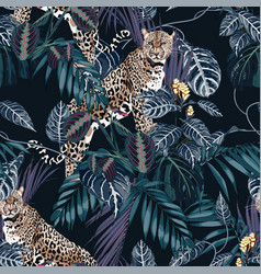 Graceful leopard and tropical leaves vector
