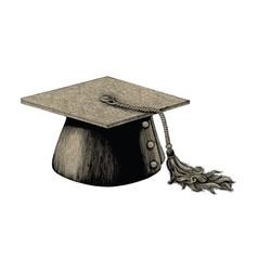 graduation hat hand drawing vintage engraving vector image