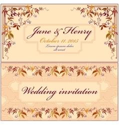 Grapevine Wedding Invitation Vintage Elegant vector image