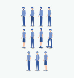 group of young men avatars characters vector image