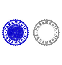 Grunge paramedic textured stamps vector