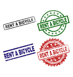 Grunge textured rent a bicycle stamp seals vector