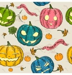 Halloween seamless background with pumpkin vector image