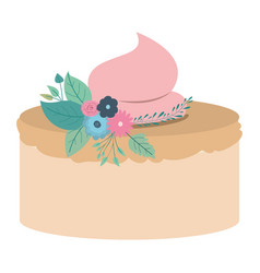 Hand drawing color cake with pink buttercream and vector