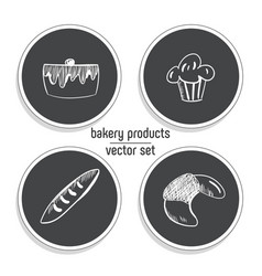 hand drawn fast food sticker set blackboard icon vector image