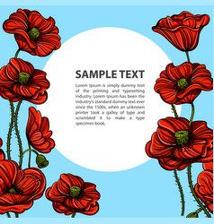 hand drawn red poppies with space for text floral vector image