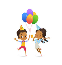 Happy african-american kids with the balloons and vector