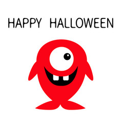 happy halloween cute red monster icon cartoon vector image