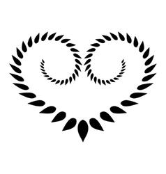 Heart wreath tattoo icon Black stylized ornament vector image