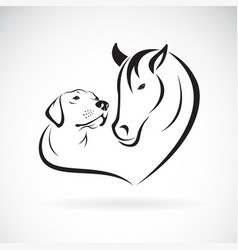 horse and doglabrador on white background pet vector image