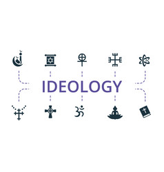 Ideology icon set contains editable icons theme vector
