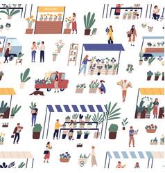 Local outdoor flower market or street fair vector