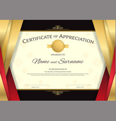 Luxury certificate template with elegant red and vector