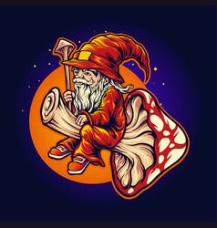 Magic mushrom logo shaman mascot fly vector