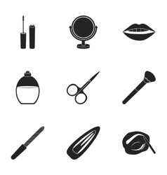 Make up set icons in black style Big collection vector