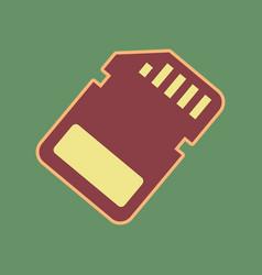 Memory card sign cordovan icon and mellow vector